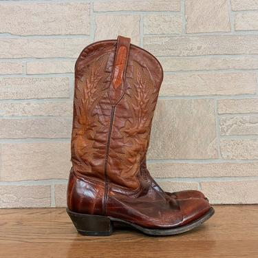 Handmade 1970's Embossed Leather and Eel Skin Cowboy Boots / Women's size 7 by NoteworthyGarments