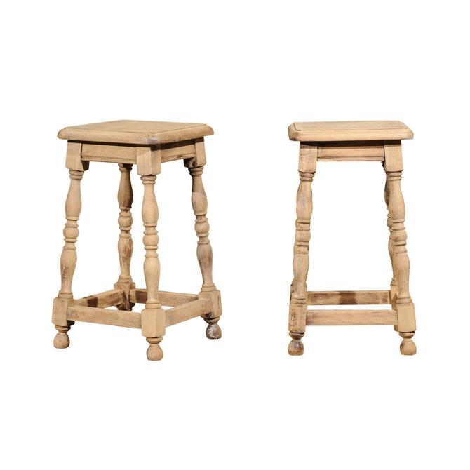 Pair of French Oak Stools / Cocktail Table