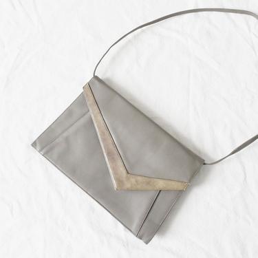 vintage 80s shoulder bag / convertible clutch purse / grey vegan leather by ImprovGoods