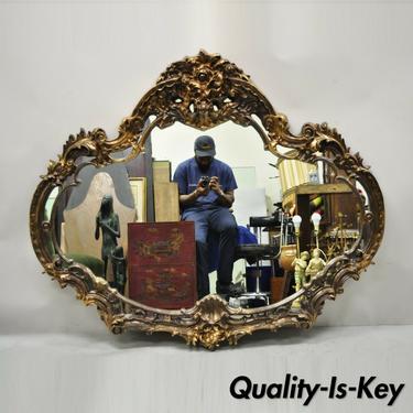 Vintage Italian Baroque Style Gold Hollywood Regency Large Sofa Wall Mirror