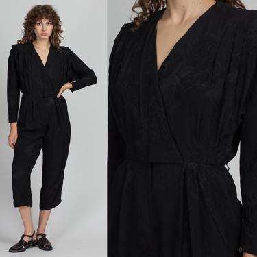 80s Black Floral Silk Jumpsuit - Petite Small | Vintage Liz Claiborne V Neck Long Sleeve Wrap Pantsuit by FlyingAppleVintage