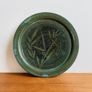 Vintage studio pottery plate / teal glaze with bamboo pattern / signed handmade dish boho modern decor by EarthshipVintage
