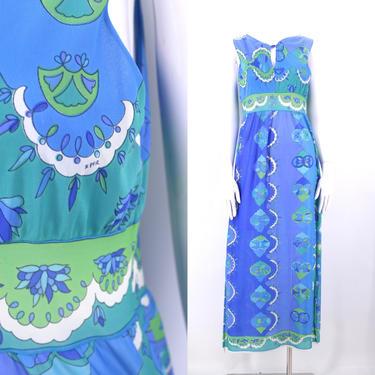 60s EMILIO PUCCI EPFR psychedelic print slip / vintage 1960s Epfr Formfit Rogers blue signed lingerie slip dress by ritualvintage