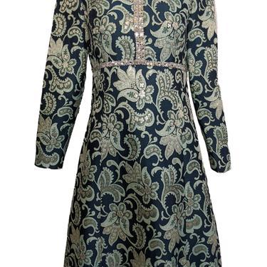 Adele Simpson 60s Metallic Brocade Cocktail Dress