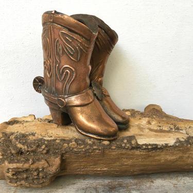 Vintage Copper Cowboy Boots, Alamo Souvenir, San Antonio Texas Souvenir Cowgirl Boots Desk Organizer by luckduck