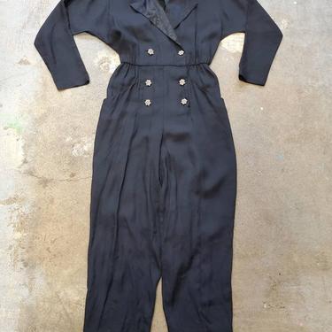 Black Jumpsuit Party Taurus nites 1990s Jump suit  Hostess Dress by purevintageclothing
