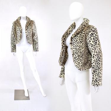 1990s Leopard Print Faux Fur Coat - Vintage Cropped Leopard Print Coat - Vintage Chunky Fur Coat - 90s Leopard Print Fur Coat   Size Small by VeraciousVintageCo