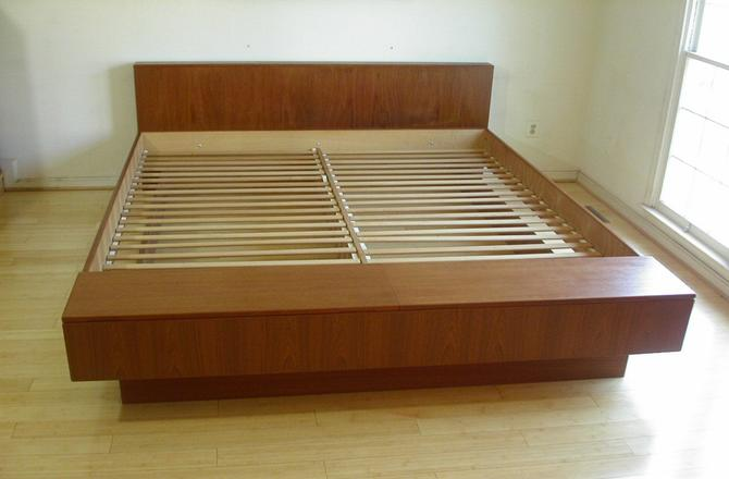 King Sz Danish Modern MCM Platform Bed with STORAGE Footboard Chest by Poul Hundevad  - Text / Voice 571 330 0810 by RetroSquad