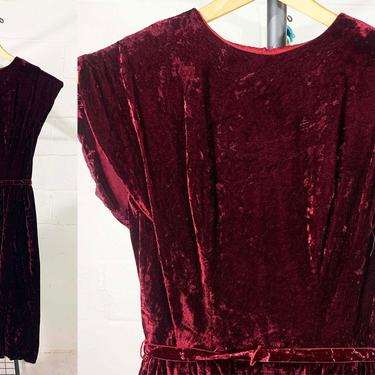 True Vintage Red Crushed Velvet Dress Burgundy Short Cap Sleeve Boho Party Cocktail 60s 50s Wiggle Mad Men Brielle Creations XS XXS Small by CheckEngineVintage