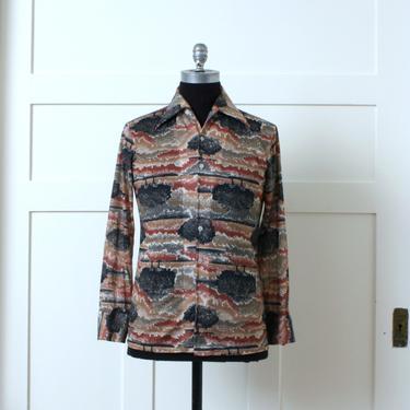 mens 1970s vintage tree shirt • long sleeve big collar disco shirt • horizon at dusk print by LivingThreadsVintage