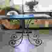 BALLARD DESIGN WROUGHT IRON CONSOLE WITH GLASS TOP