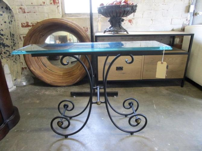 BALLARD DESIGN WROUGHT IRON CONSOLE WITH GLASS TOP