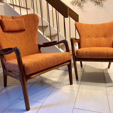 Pair of Adrian Pearsall for Craft Associates Wingback Lounge Chairs 1960's by MSGEngineering