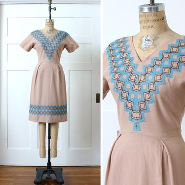 vintage 1950s tailored dress • embroidered light pink cotton short sleeve dress by LivingThreadsVintage