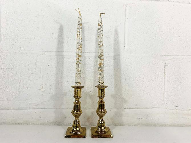 Vintage Brass Set of Two Harvin Newport Candle Holders Candlesticks Retro Tiered Decor Mid-Century Hollywood Regency Candleholder MCM by CheckEngineVintage