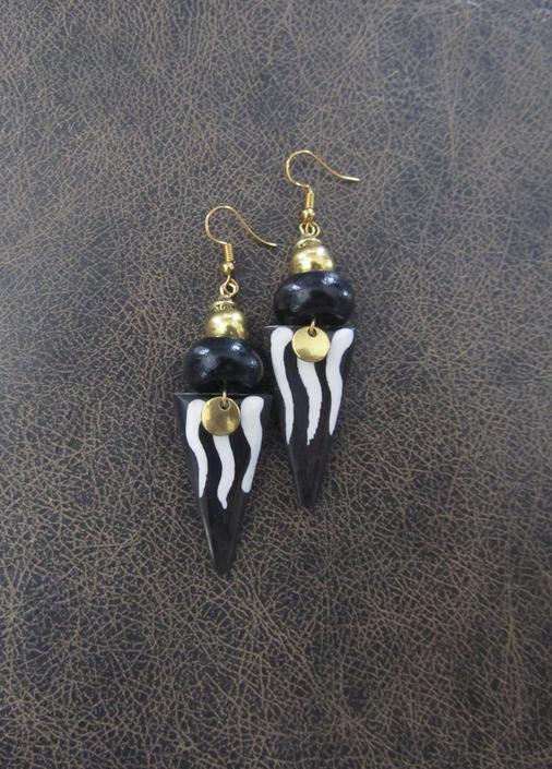 Afrocentric batik print bone earrings, brass geometric earrings, African horn earrings, unique earrings, bold statement earrings, exotic by Afrocasian