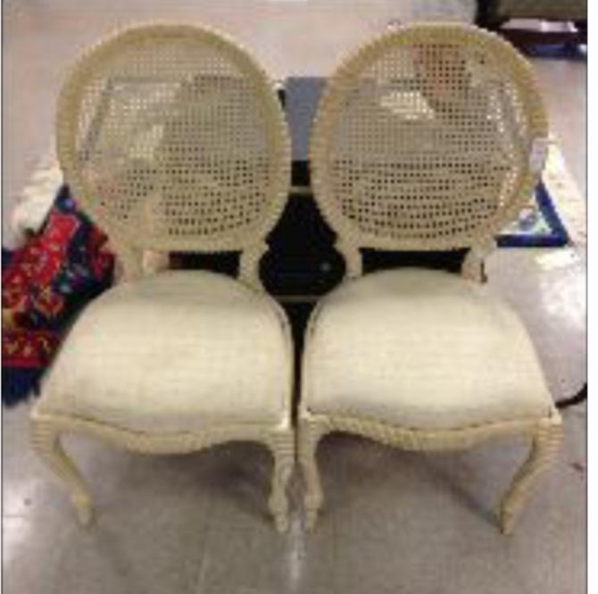 Pair of upholstered Rope knot wooden chairs.