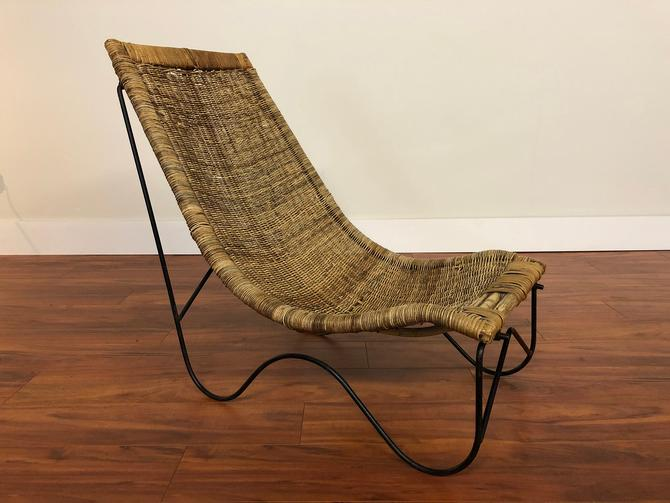 Arthur Umanoff Style Mid-Century Wicker Lounge Chair by Vintagefurnitureetc