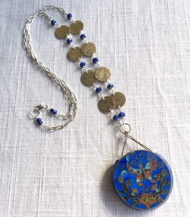 Constant Traveler [assemblage necklace: antique enamel pendant, hammered brass, lapis, sterling silver] by nonasuch
