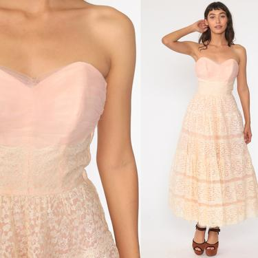 50s Party Dress Baby Pink Lace Gown Strapless 1950s Prom Dress Pinup Sweetheart Neckline Tea Length Formal Maxi Vintage 1960s Extra Small xs by ShopExile