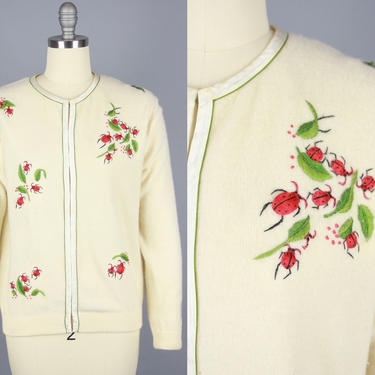 1960s LADYBUG Cardigan | Vintage 60s Ivory Sweater with 3D Red Ladybug Details | m/l by RelicVintageSF