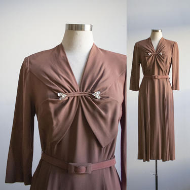 Vintage Brown Cocktail Dress / 1940s Cocktail Dress with Rhinestone Accents / Radiant 1940s Cocktail Dress / Brown Art Deco Style Dress by milkandice