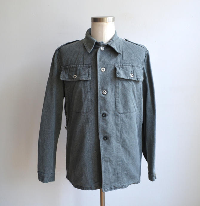 Vintage Swiss Military Jacket  Selvedge Denim Army Jacket  Surplus ... 2c30a63b5