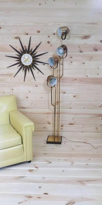 MCM Mid Century Modern Gold Brass 4 Light Reggiani Floor Lamp Made in Italy by RedsRustyRelics