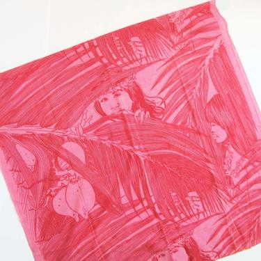 Vintage 60s Daniel Adam Tahiti Fabric 35 x 70 - Bright Pink Tahiti Polynesian Woman Palm Leaf Tropical Cotton Fabric -  Tiki Quilting by MILKTEETHS