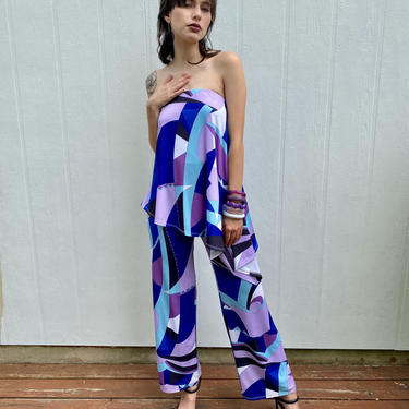 Vintage Julian Chang designer Y2K Abstract  Pucciesque print Strapless Bell bottom Asymmetrical Disco Jumpsuit XS S by prismavintageatx