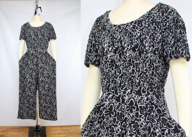 Vintage 90's Black and White Floral Wide Leg Jumpsuit / 1990's Floral Smocked Bodice Jumpsuit / Summer / Women's Size XL by RubyThreadsVintage