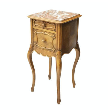 Antique 19th Century FRENCH LOUIS XV Carved Walnut & Parquet Marble Top Cabinet!   bedside nightstand side/end table by LynxHollowAntiques