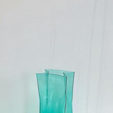 "Vintage BLENKO 12.25"" Tall Aqua Green Art Glass Paper Bag Vase 1970s 1980s by SwankyChaperooo"
