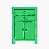 Oriental Bright Green Lacquer Two Drawers End Table Nightstand cs5393S