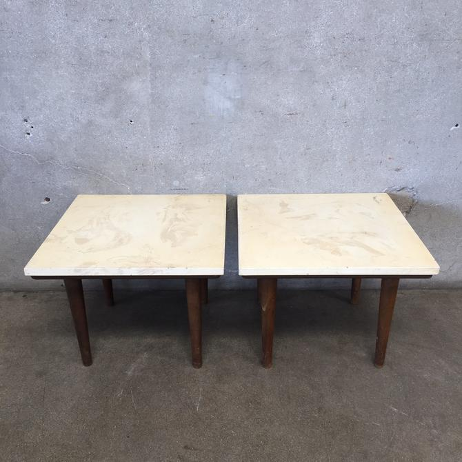 Pair of Mid Century Walnut and Marble Side / End Tables
