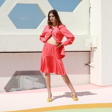 80s Bubblegum Pink Skirt Blazer Set Vintage Bright Matching Long Sleeve Suit Set by AppleBranchesVintage