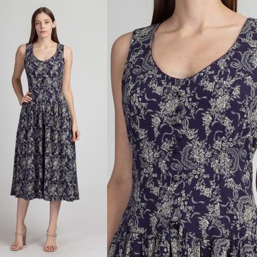 80s Scott McClintock Floral Drop Waist Midi Dress - Medium to Large | Vintage Fitted Bodice Boho Sleeveless Dress by FlyingAppleVintage
