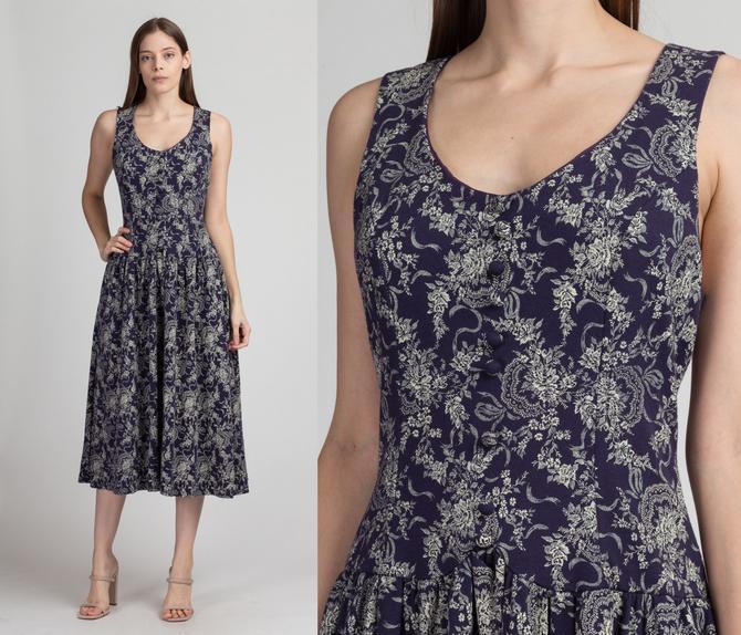 80s Scott McClintock Floral Drop Waist Midi Dress - Medium to Large   Vintage Fitted Bodice Boho Sleeveless Dress by FlyingAppleVintage