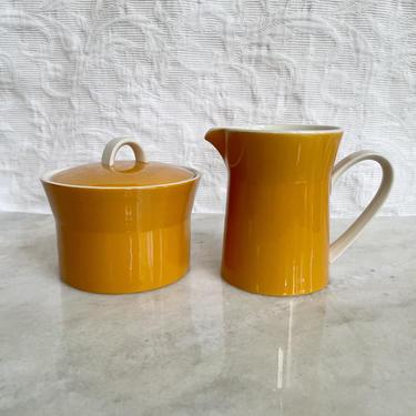 Vintage Orange and White Mikasa Duplex Sugar & Creamer Set, By Ben Seibel, Made in Japan, D3200, MCM Retro Kitchen Tea Set by BlackcurrantPreserve
