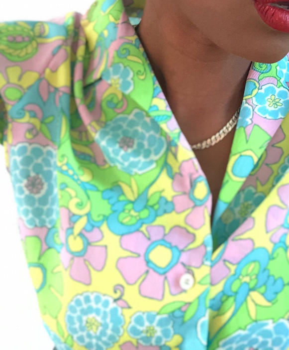 Vintage 1960s 1970s 70s Floral Blouse Shirt Top Flower Power Hippie Retro Psychedelic Mod Boho Bohemian Small Medium by KeepersVintage