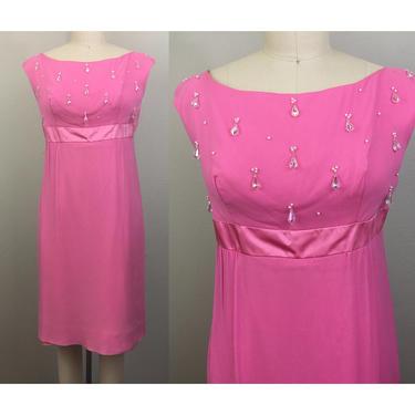 Vintage 60s Mod Pink Chiffon Party Dress w/ Crystal Beads M by FlashbackATX