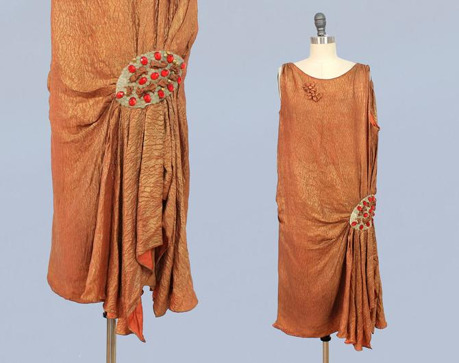 1920s Dress/ 20s Orange Metallic Lame Dress / Hip Medallion by GuermantesVintage