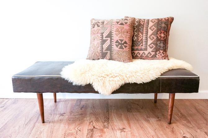 Vintage Mid-Century Modern Brown Leather Bench With Teak Legs by PortlandRevibe
