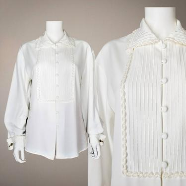Vintage 80s White Soutache Blouse, Medium / Dressy French Cuff Blouse / Womens Long Sleeve Button Blouse / Embellished White Cocktail Blouse by SoughtClothier