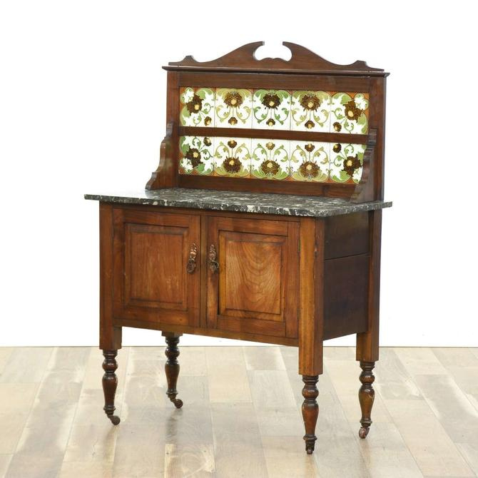 Country Farmhouse Floral Backsplash Sideboard Buffet
