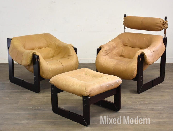 Percival Lafer Leather Lounge Chairs and Ottoman- a Pair by mixedmodern1