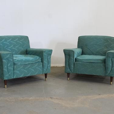 Pair of Mid Century Modern Atomic Teal Kroehler Pencil Leg Club Chairs by AnnexMarketplace