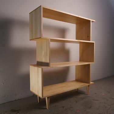 "4-Tier OFFSTACK Bookcase, 49""H, Mid Century Record Shelf, Geometric Bookshelf, Modern Offset Shelf (Shown in Walnut) by TomfooleryWood"