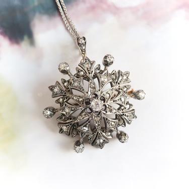 Antique Victorian Diamond Snowflake Pendant Brooch Silver Over 14K by YourJewelryFinder
