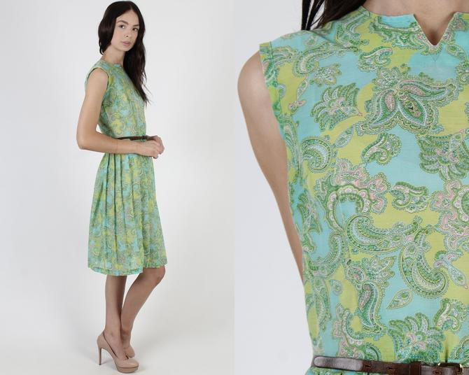 Vintage 50s Lime Paisley Dress / Sleeveless 1950s Housewife Dress / Retro Green House Party Full Skirt Sheer Teal Mini Dress by americanarchive